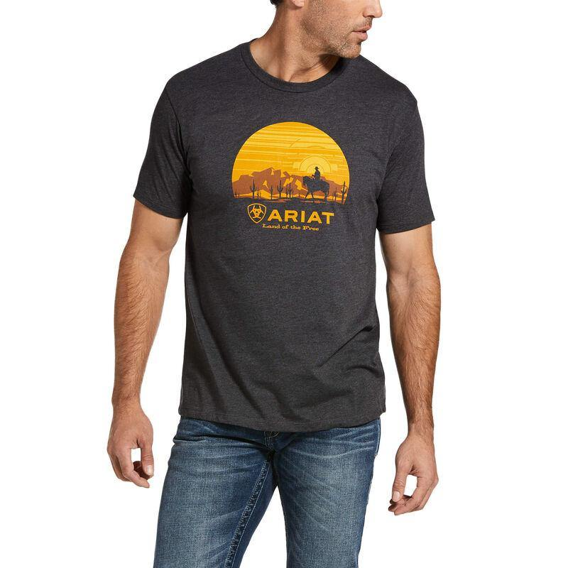 Mens Ariat Fragment Cowboy Charcoal Heather T-Shirt