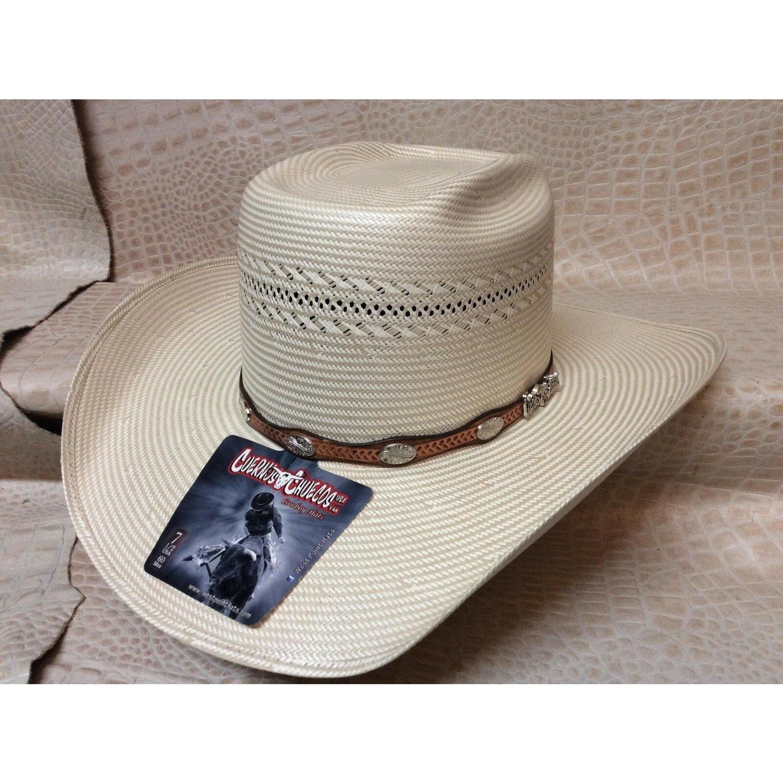 Cuernos Chuecos 100X 8 Seconds Rodeo Western Cowboy Straw Hat Natural Tan - CWesternwear