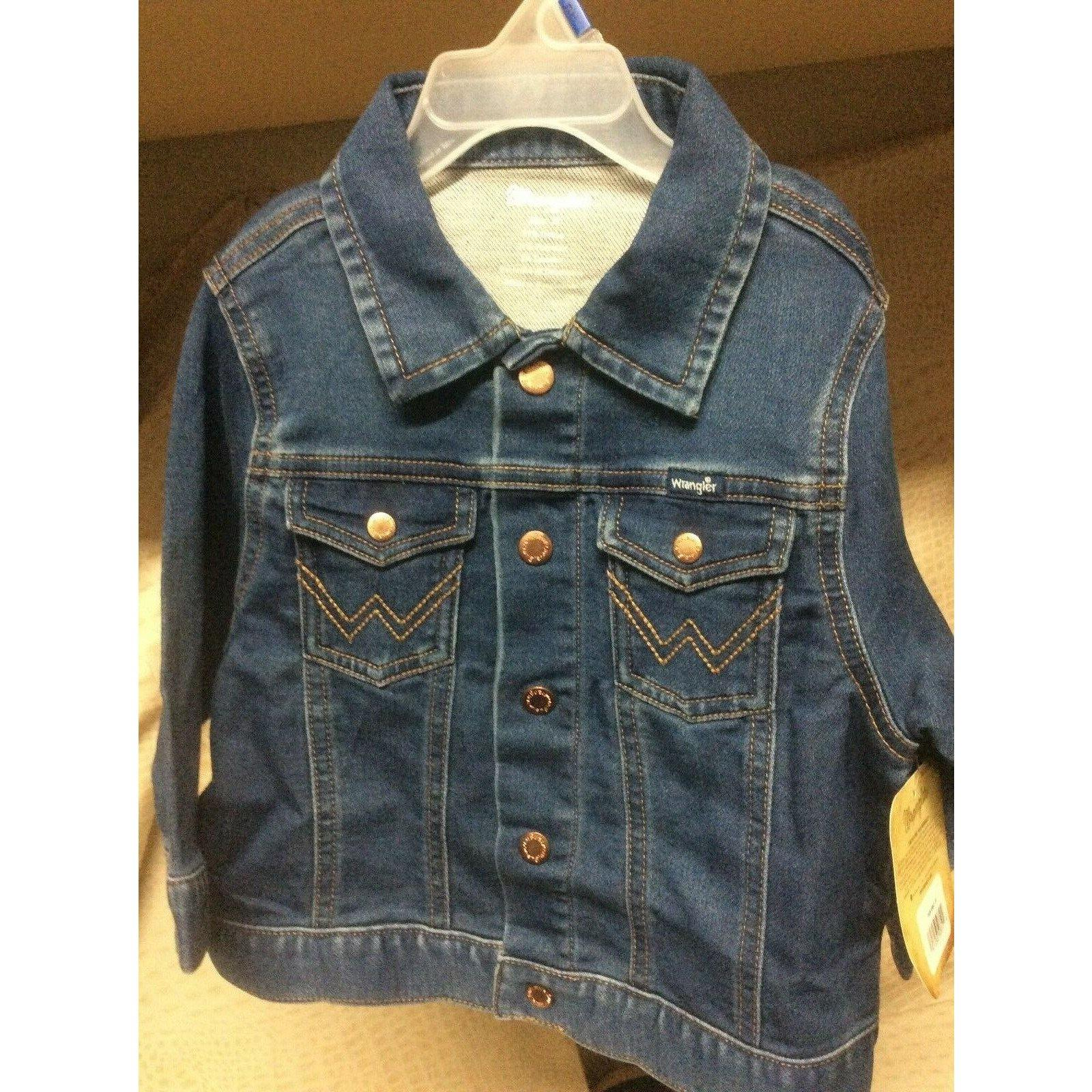 New Toddler Kids Wrangler Blue Denim Western Cowboy Trucker Stretch Jacket - CWesternwear