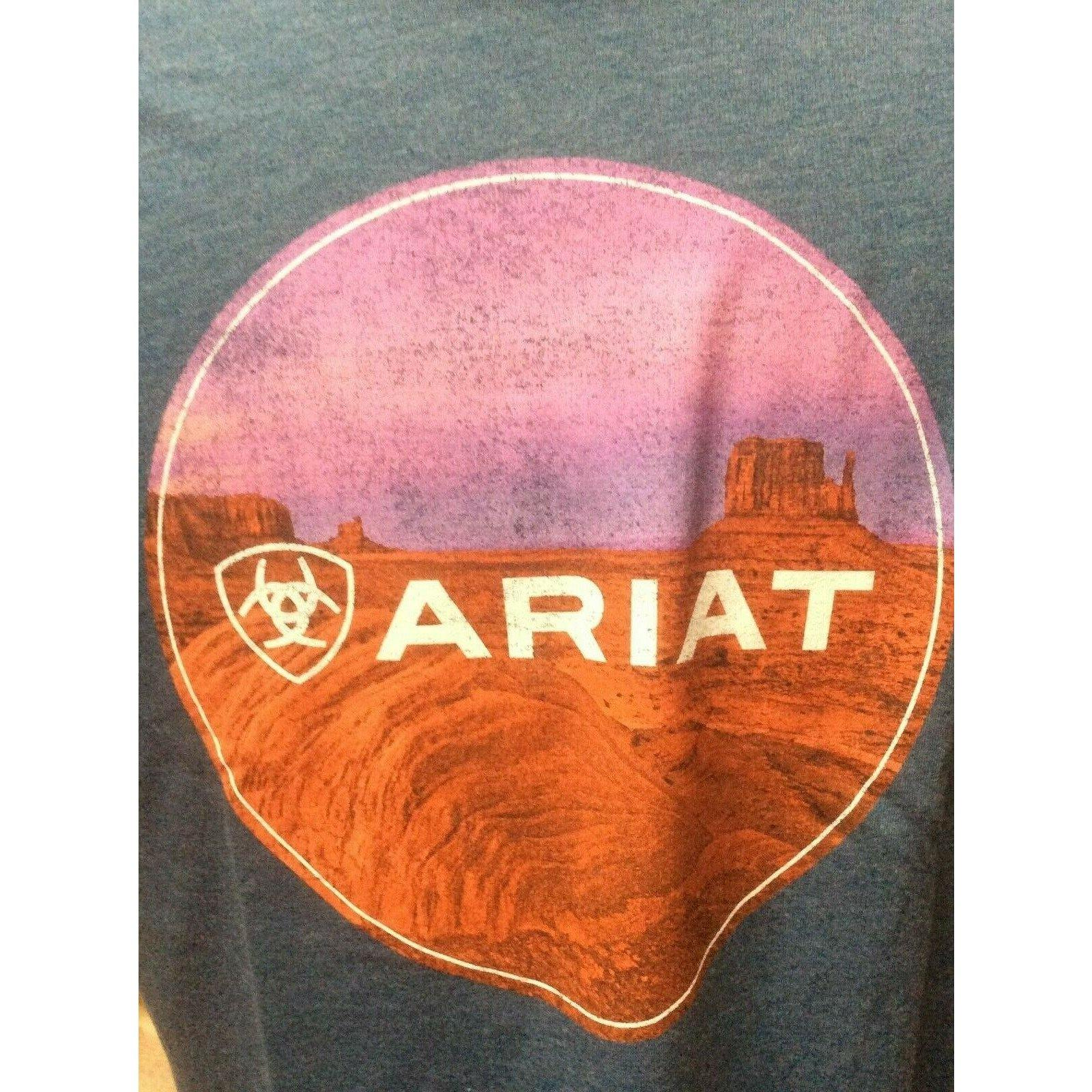 New Mens Western Ariat T-Shirt Heather Blue - CWesternwear