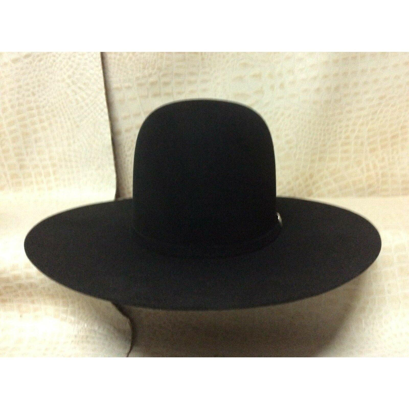Resistol 6X Midnight Black Beaver Fur Felt Open Crown Cowboy Hat Western Rodeo - CWesternwear
