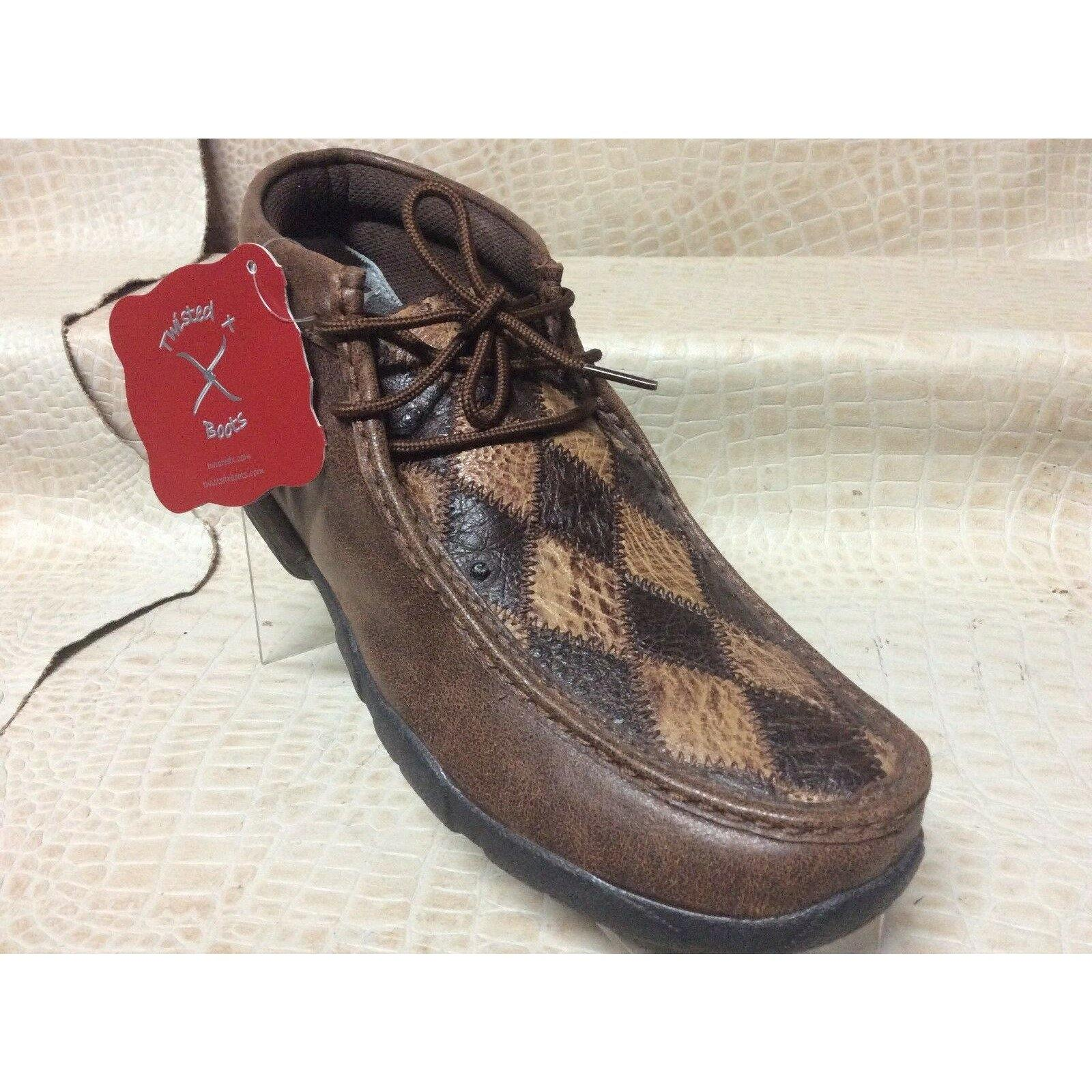 Twisted X Men's Oiled Saddle and Bomber Brown Ostrich Patchwork Driving Moccasin - CWesternwear