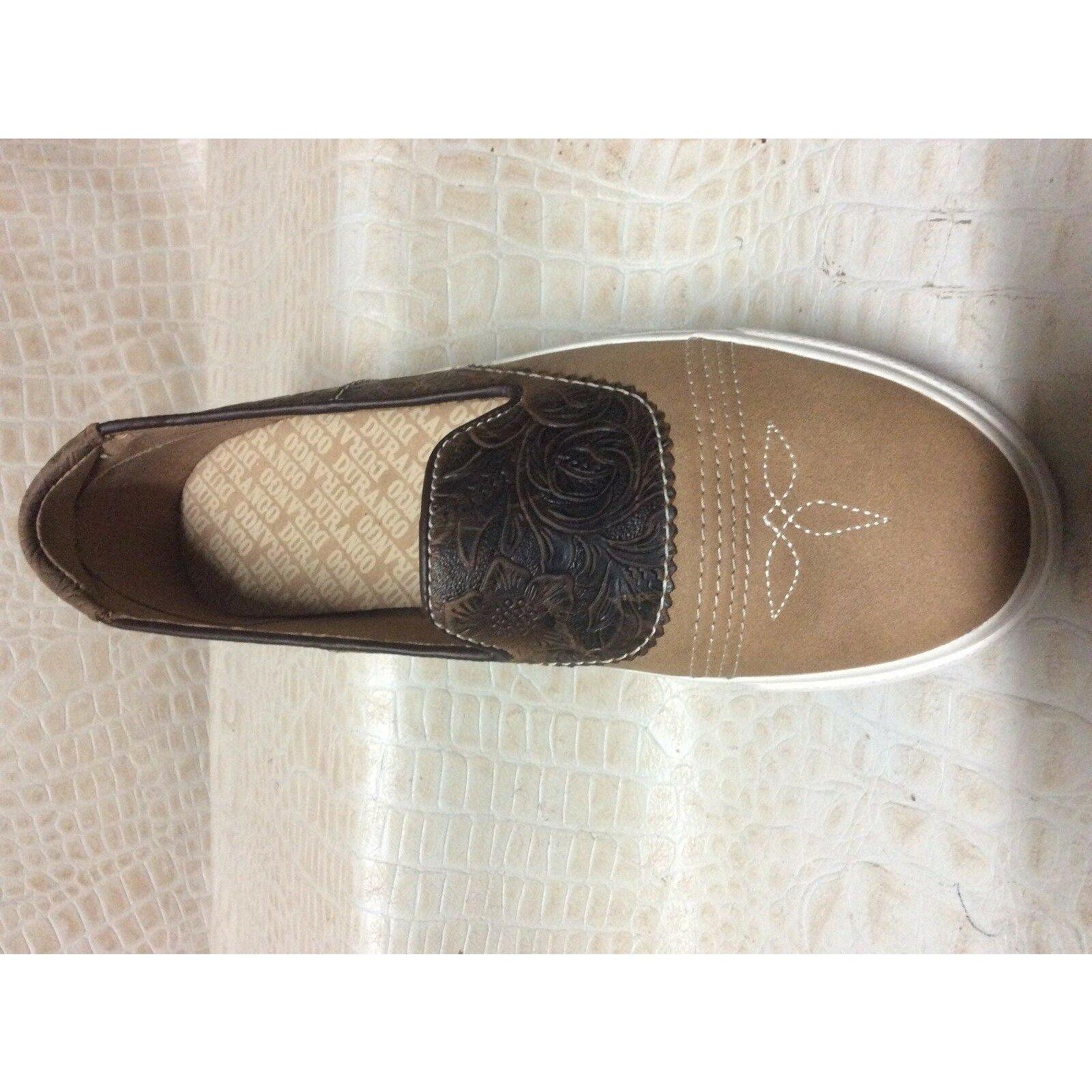 Womens Durango Leather tooled Brown Slip-On Shoes vans - CWesternwear