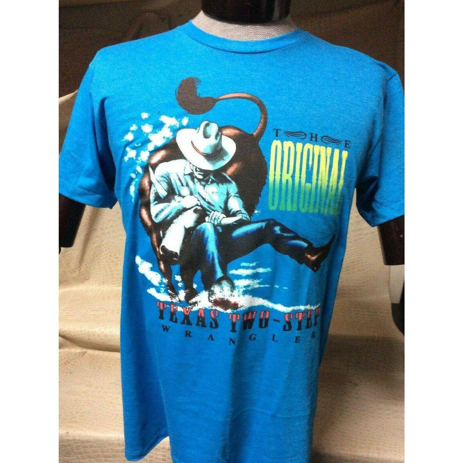 New Mens Western Wear Cowboy Wrangler T-Shirt Blue - CWesternwear
