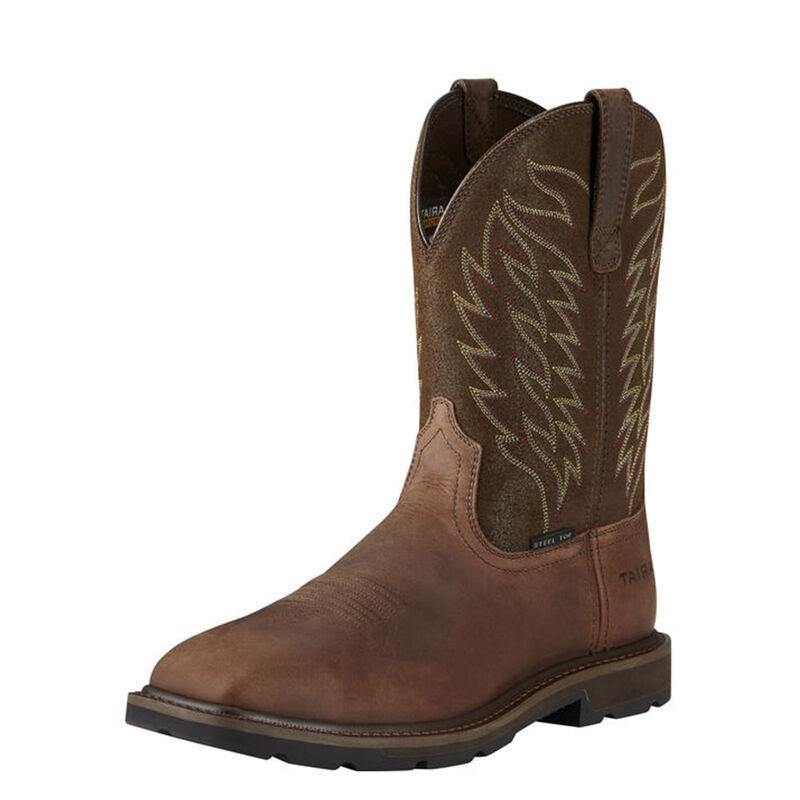 Ariat Groundbreaker Wide Square Steel Toe Brown Work Boot - CWesternwear