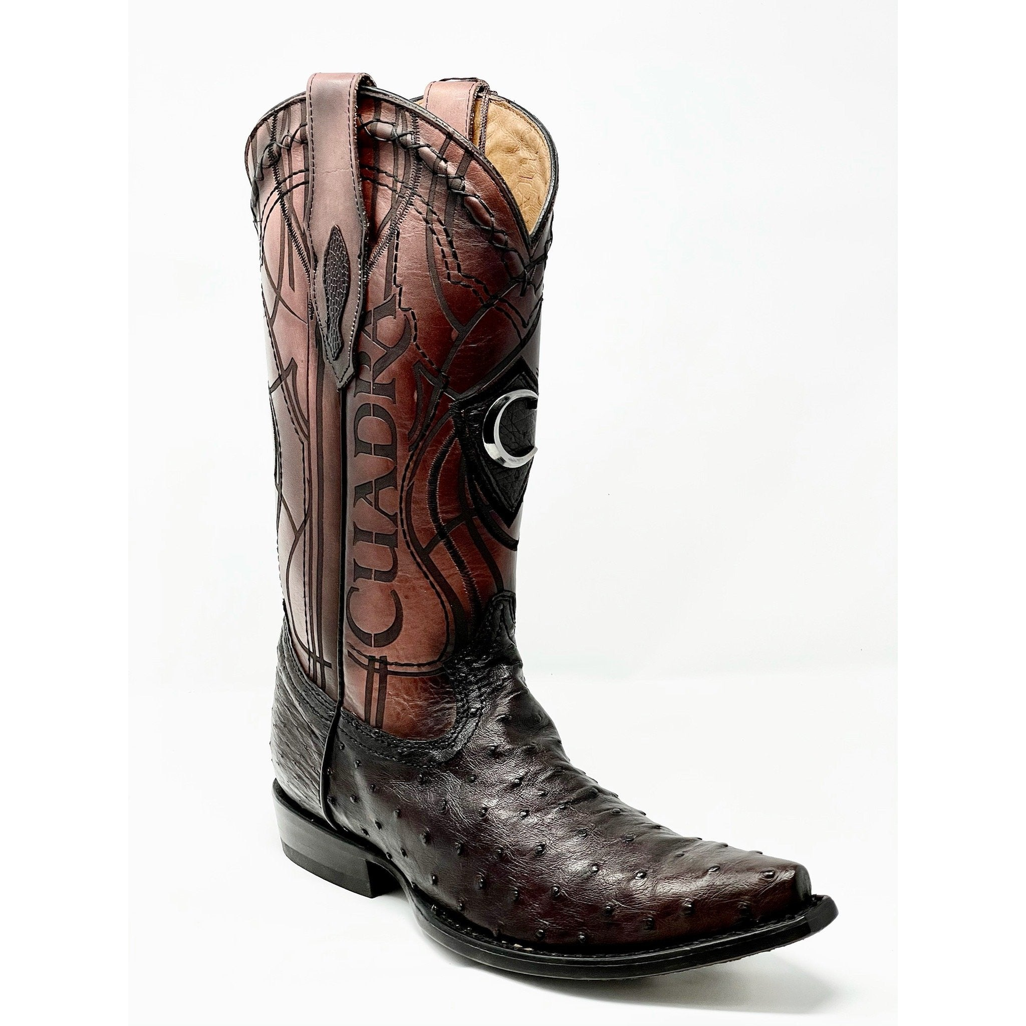 Cuadra Genuine All-Over Ostrich Brown Snip Toe Cowboy Boots