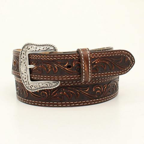 Nocona Brown Leather Mens Sanded Pecos Belt - CWesternwear