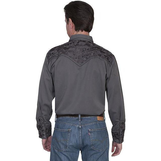 Scully Floral Embroidered Long Sleeve Gray White Shirt - CWesternwear