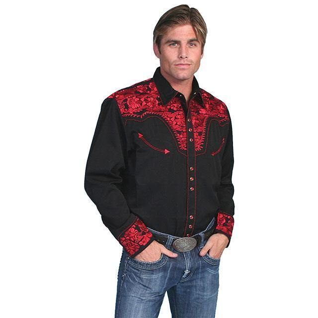 Scully Floral Embroidered Long Sleeve Black Shirt - CWesternwear