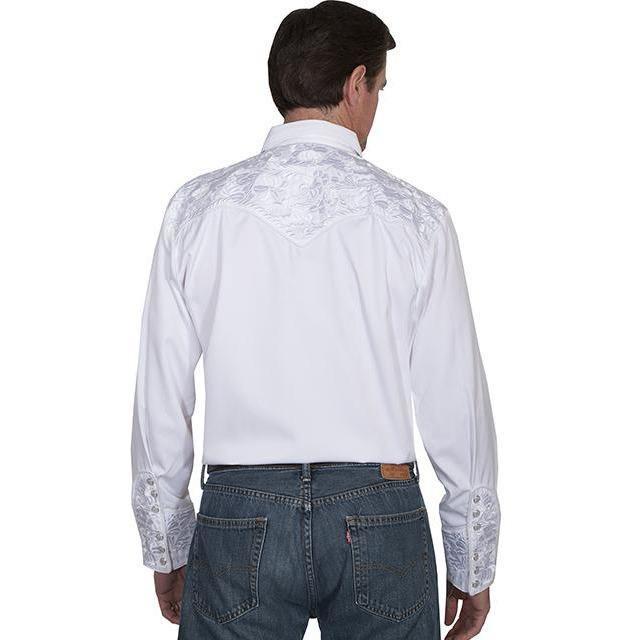 Scully Floral Embroidered Long Sleeve White Shirt - CWesternwear