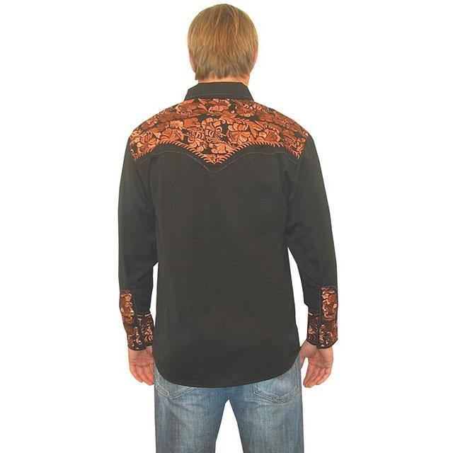 Scully Embroidered Scroll Shirt Black/Bronce