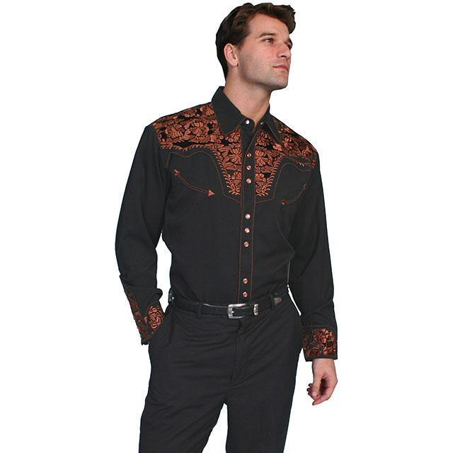 Scully Embroidered Scroll Shirt Black/Bronce - CWesternwear