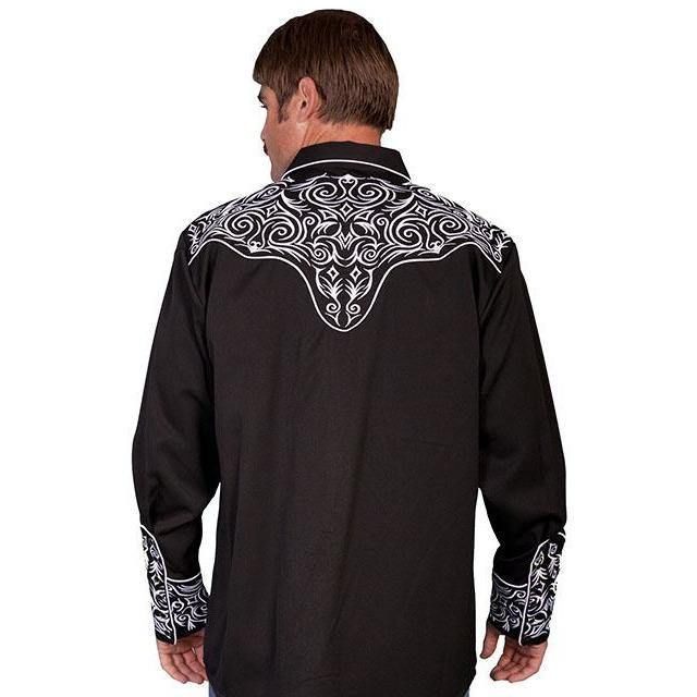 Scully Embroidered Scroll Black/White Shirt - CWesternwear