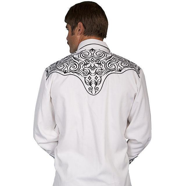 Scully Embroidered Scroll White Shirt - CWesternwear