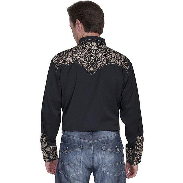 Scully Embroidered Scroll Shirt Black/Gold - CWesternwear