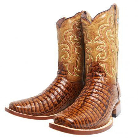 Rancho Semental Men's Q Caiman Belly Print Cognac Medium Square Toe