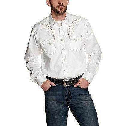 Wrangler Rock 47 Men's White with Tan Embroidery Long Sleeve Western Shirt
