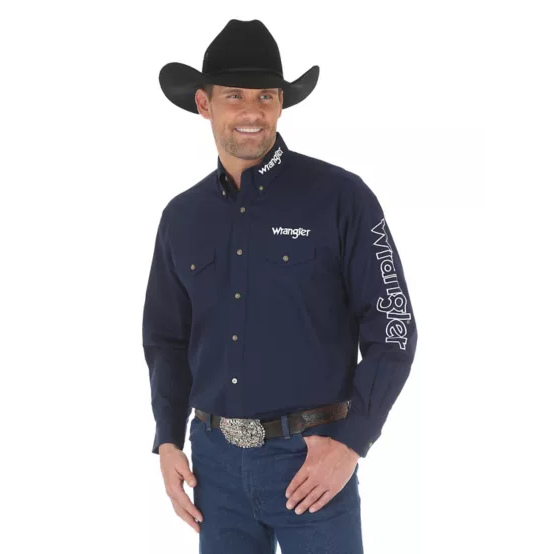 WRANGLER® LOGO LONG SLEEVE BUTTON DOWN SOLID  BLUE SHIRT - CWesternwear
