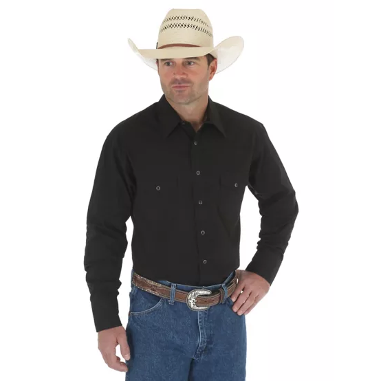 WRANGLER® WESTERN SNAP SHIRT - LONG SLEEVE SOLID BROADCLOTH - CWesternwear