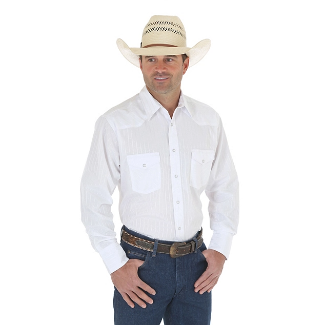 WRANGLER® WESTERN LONG SLEEVE WESTERN SNAP DOBBY STRIPE WHITE SHIRT