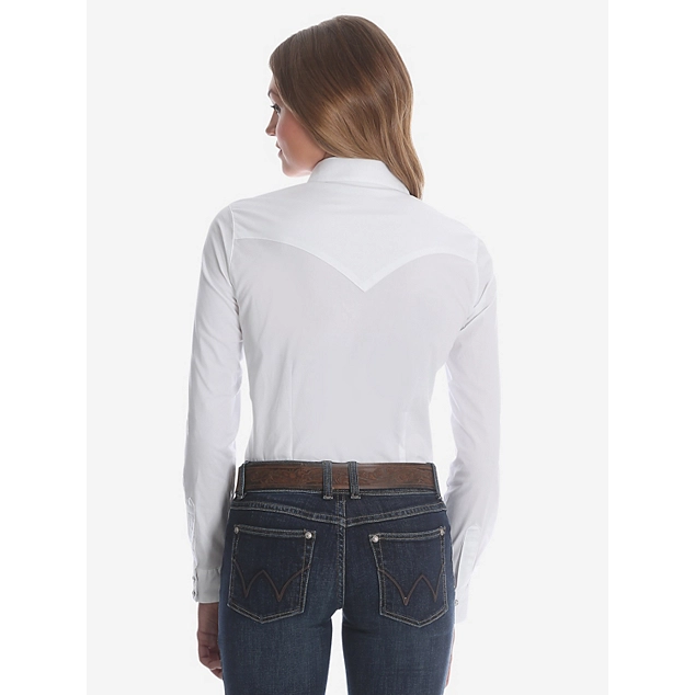Womens WRANGLER® LONG SLEEVE ONE POINT FRONT AND BACK YOKES SOLID White TOP - CWesternwear