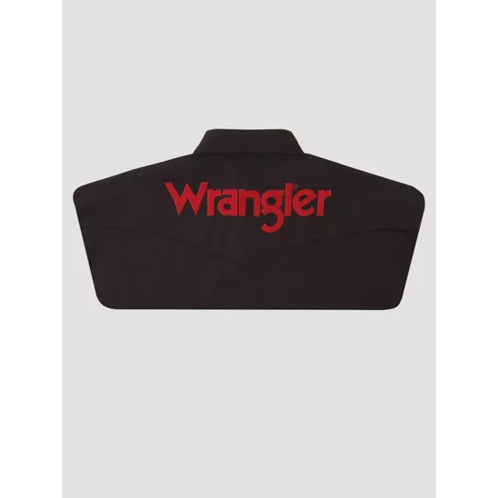 WRANGLER® LOGO LONG SLEEVE BUTTON DOWN SOLID BLACK SHIRT - CWesternwear