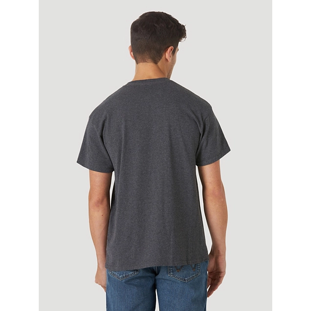 WRANGLER MEN'S SHORT SLEEVE BRONCO LOGO GRAPHIC T-SHIRT IN CHARCOAL HEATHER - CWesternwear