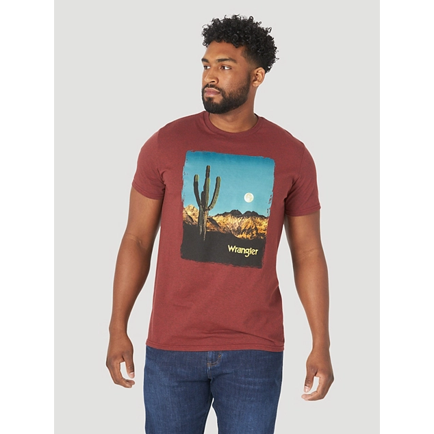 WRANGLER MEN'S SHORT SLEEVE DESERT MOON GRAPHIC T-SHIRT IN BRICK PEPPER HEATHER - CWesternwear