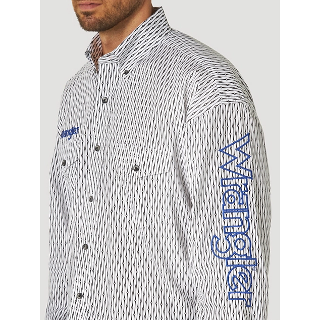 WRANGLER  LOGO LONG SLEEVE BUTTON DOWN PRINT SHIRT