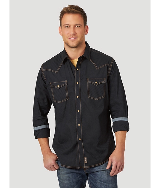 MEN'S WRANGLER RETRO® LONG SLEEVE WESTERN SNAP SOLID DOBBY SHIRT IN BLACK