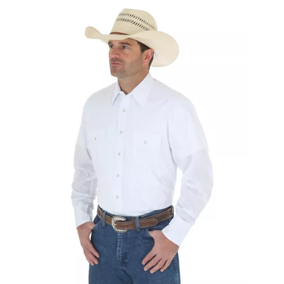 WRANGLER® WESTERN SNAP WHITE SHIRT - LONG SLEEVE SOLID BROADCLOTH - CWesternwear