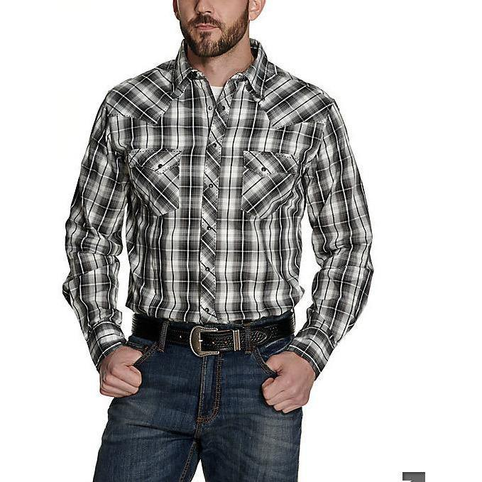 Wrangler Men's White and Black Plaid Long Sleeve Western Shirt