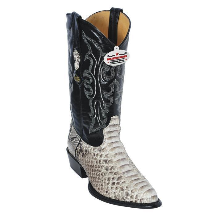 Mens Los Altos Natural Genuine All-Over Python J-Toe Cowboy Boots - CWesternwear