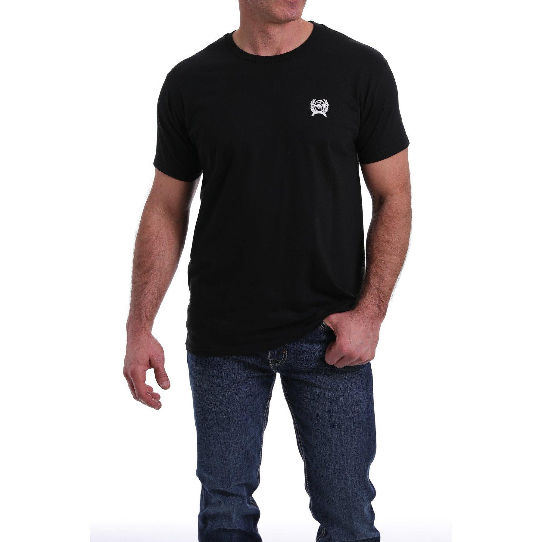 CINCH MEN'S CREW NECK FRONT AND BACK LOGO TEE - BLACK - CWesternwear