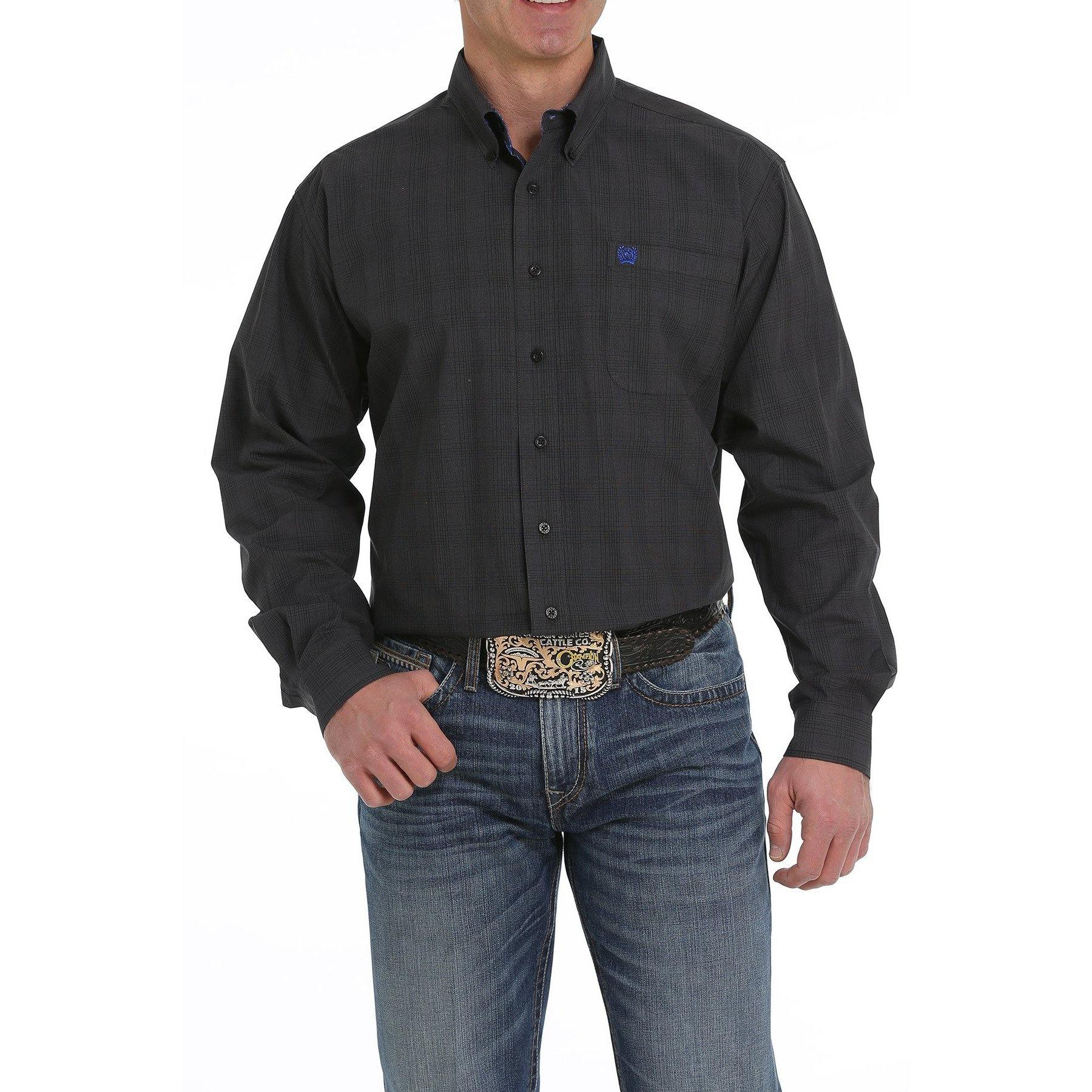 CINCH MEN'S BLACK AND GRAY PLAID BUTTON-DOWN WESTERN SHIRT - CWesternwear