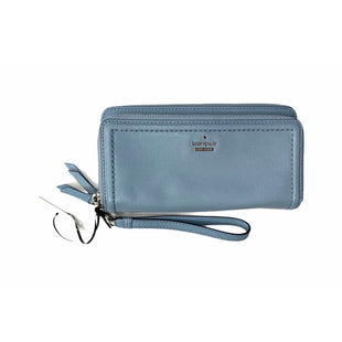 Primary Photo - BRAND: KATE SPADE STYLE: WALLET COLOR: BABY BLUE SIZE: LARGE SKU: 299-29929-45405•DESCRIPTIONMATERIALCAVIAR PEBBLED LEATHERCAPITAL KATE JACQUARD LININGFEATURES17 CREDIT CARD SLOTS, ONE ID SLOT, ZIPPER CHANGE POCKET AND TWO BILLFOLDSDETAILS4.3H X 8W X 1.4DWRISTLET STRAP DROP: 6.5DUST BAG NOT INCLUDEDIMPORTEDSTYLE # WLRU5041