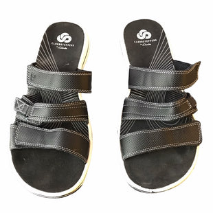Primary Photo - BRAND: CLARKS STYLE: SANDALS LOW COLOR: WHITE BLACK SIZE: 8 OTHER INFO: CLOUDSTEPPERS SKU: 299-29987-750