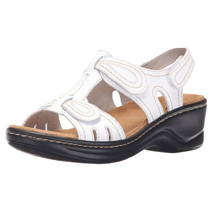 Primary Photo - BRAND: CLARKS STYLE: SANDALS LOW COLOR: WHITE SIZE: 8 SKU: 299-29950-6898•ABOUT THIS ITEMLEATHERRUBBER SOLESHAFT MEASURES APPROXIMATELY NOT_APPLICABLE FROM ARCHHEEL HEIGHT 2.36 INCHESORTHOLITE FOOTBEDCUSHION SOFT TECHNOLOGYLEIGHT-WEIGHT EVA OUTSOLEFULL GRAIN LEATHERDESCRIPTIONTHE LEXI WALNUT BY CLARKS COLLECTION WILL FEEL LIKE A CUSTOM FIT WITH ITS THREE FULLY ADJUSTABLE STRAPS. THE SOFT LEATHER UPPER INCLUDES TWO STRAPS ACROSS THE FRONT AND A BACK-STRAP TO SUPPORT THE HEEL, ALL WITH EASY HOOK AND LOOP CLOSURES. THE STITCH DETAILING GIVES A CRAFTED LOOK, WHILE THE ORTHOLITE FOOTBED WITH CUSHION SOFT TECHNOLOGY IN THE INSOLE GIVES YOU SUPREME COMFORT. THE SUPER LIGHTWEIGHT, FLEXIBLE EVA OUTSOLE MAKES EVERY STEP A BREEZE. COMPLIMENTS ALMOST EVERYTHING IN YOUR SUMMER WARDROBE.J