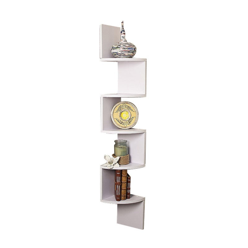 5-Tier Corner Wall Shelf Display Storage Shelves - White