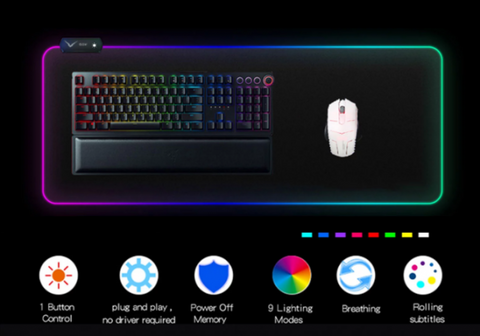 GMS-X5 Gaming RGB Mousepad 14 Lighting Modes RGB Non-Slip Rubber Keyboard Mat - Store Zone-Online Shopping Store Melbourne Australia