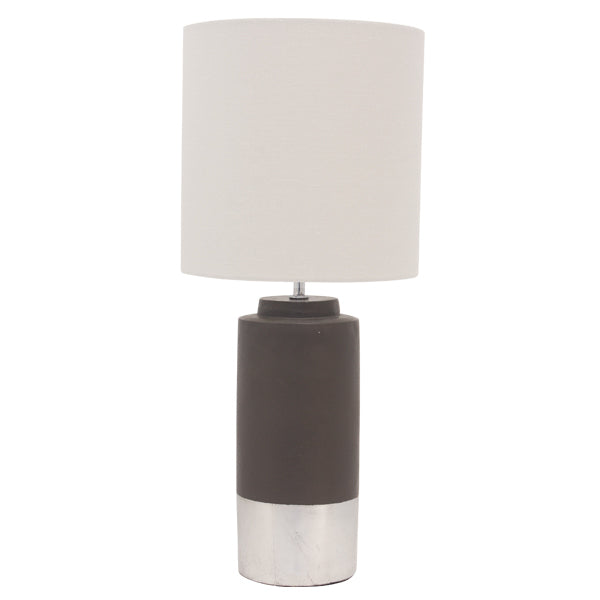 Zane Concrete Table Lamp  Silver trim drum shade