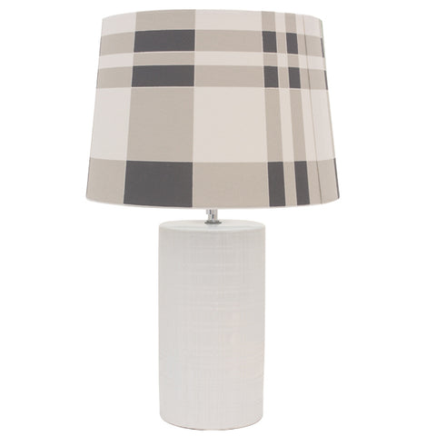 Channing white ceramic Bedside Lamp w/Chequered Shade
