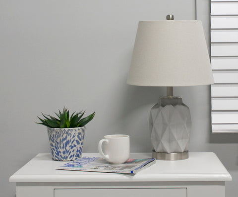 Jude Bedside Lamp light grey and silver with shade