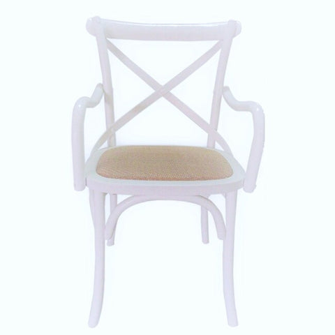 Crossback Carver Dining Chair White - Store Zone-Online Shopping Store Melbourne Australia