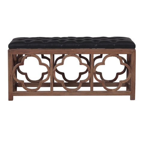 Roosevelt with black leather Deep Buttoned Bench