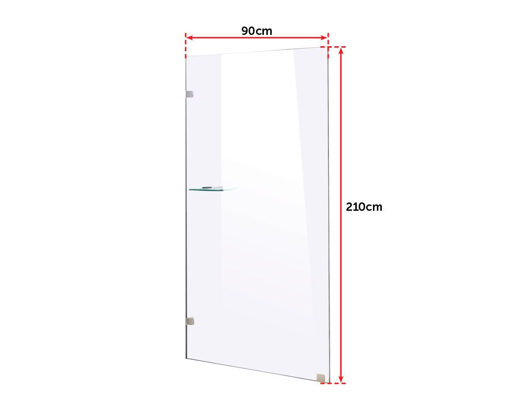 900 x 2100mm Frameless 10mm Safety Glass Shower Screen
