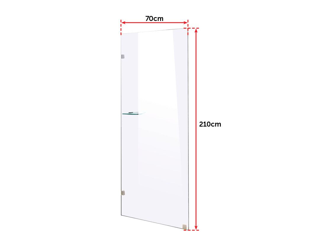 700 x 2100mm Frameless 10mm Safety Glass Shower Screen