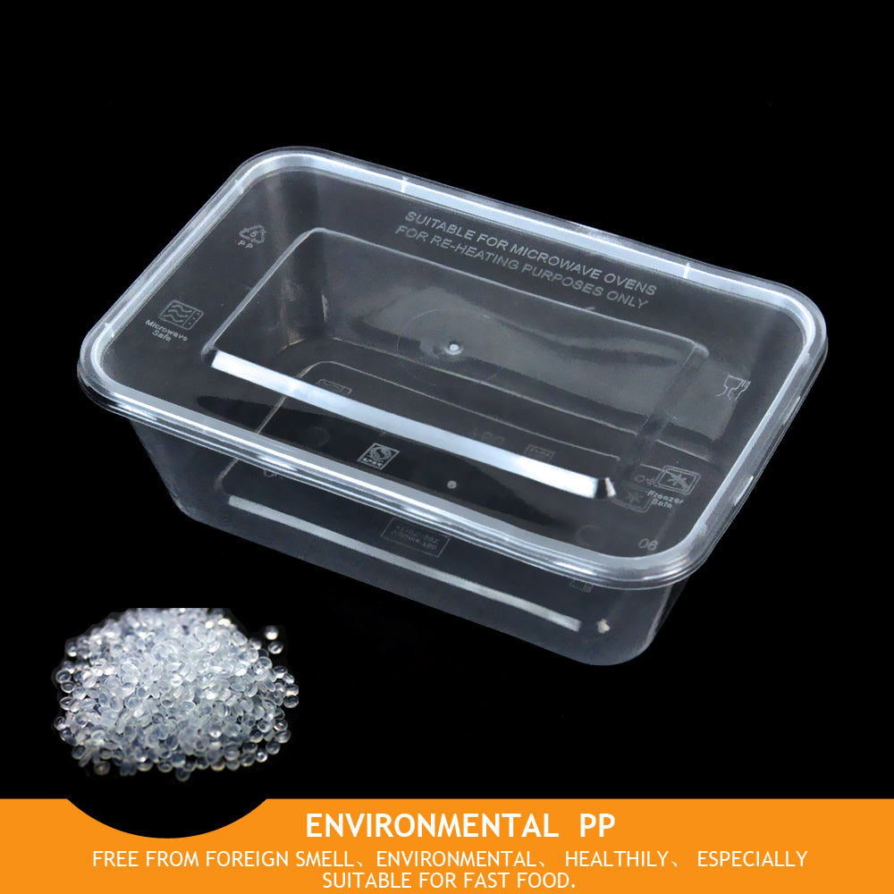 Food Containers Take Away Plastic Base + Lids Bulk 500ml