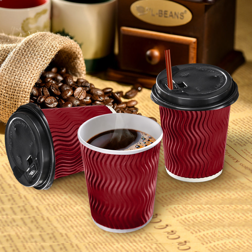 Disposable Coffee Cups Triple Wall 8oz 200pcs Red