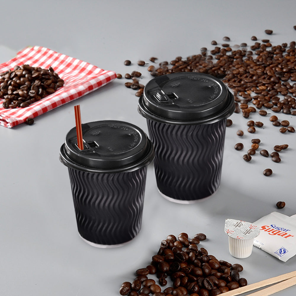 Disposable Coffee Cups Triple Wall 8oz 200pcs Black